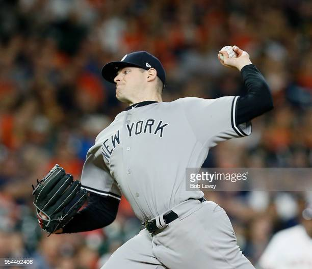 Jordan Montgomery of the New York Yankees pitches against the Houston Astros at Minute Maid Park on May 1 2018 in Houston Texas