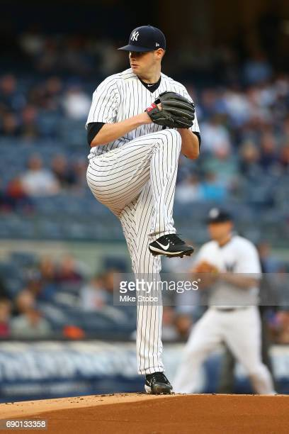 Jordan Montgomery of the New York Yankees pitches against the Kansas City Royals at Yankee Stadium on May 23 2017 in the Bronx borough of New York...