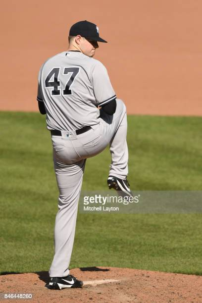 Jordan Montgomery of the New York Yankees pitches during a baseball game against the Baltimore Orioles at Oriole Park at Camden Yards on September 4...