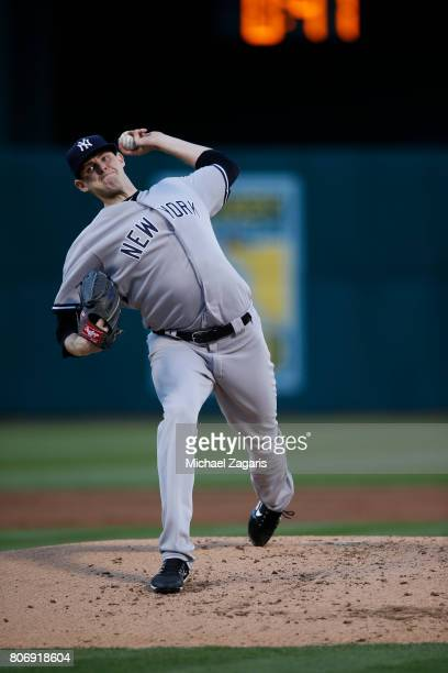 Jordan Montgomery of the New York Yankees pitches during the game against the Oakland Athletics at the Oakland Alameda Coliseum on June 15 2017 in...