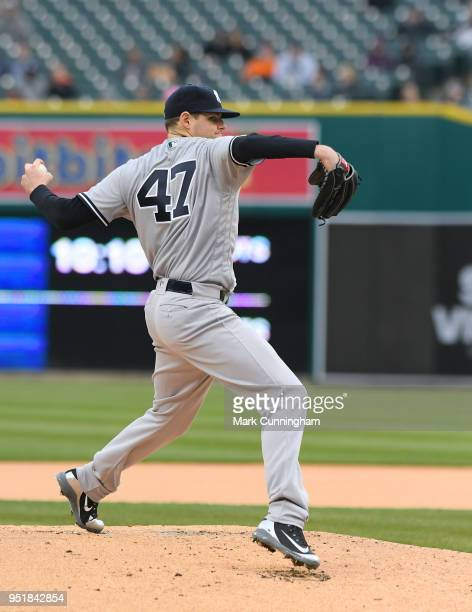 Jordan Montgomery of the New York Yankees pitches during the game against the Detroit Tigers at Comerica Park on April 13 2018 in Detroit Michigan...