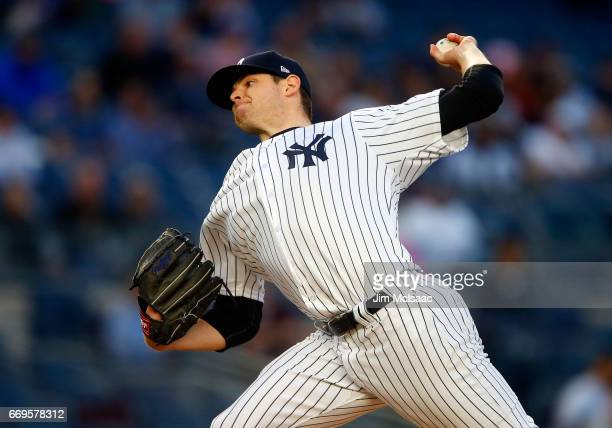 Jordan Montgomery of the New York Yankees pitches in the first inning against the Chicago White Sox at Yankee Stadium on April 17 2017 in the Bronx...