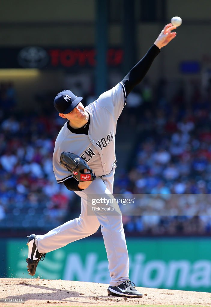 Jordan Montgomery #47 of the New York Yankees pitches in the first inning against the Texas Rangers at Globe Life Park in Arlington on September 10, 2017 in Arlington, Texas.