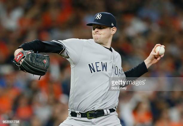 Jordan Montgomery of the New York Yankees pitches in the first inning against the Houston Astros at Minute Maid Park on May 1 2018 in Houston Texas