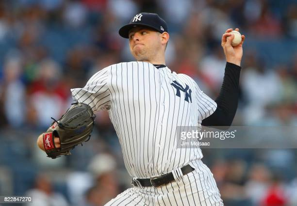Jordan Montgomery of the New York Yankees pitches in the second inning against the Cincinnati Reds at Yankee Stadium on July 25 2017 in the Bronx...