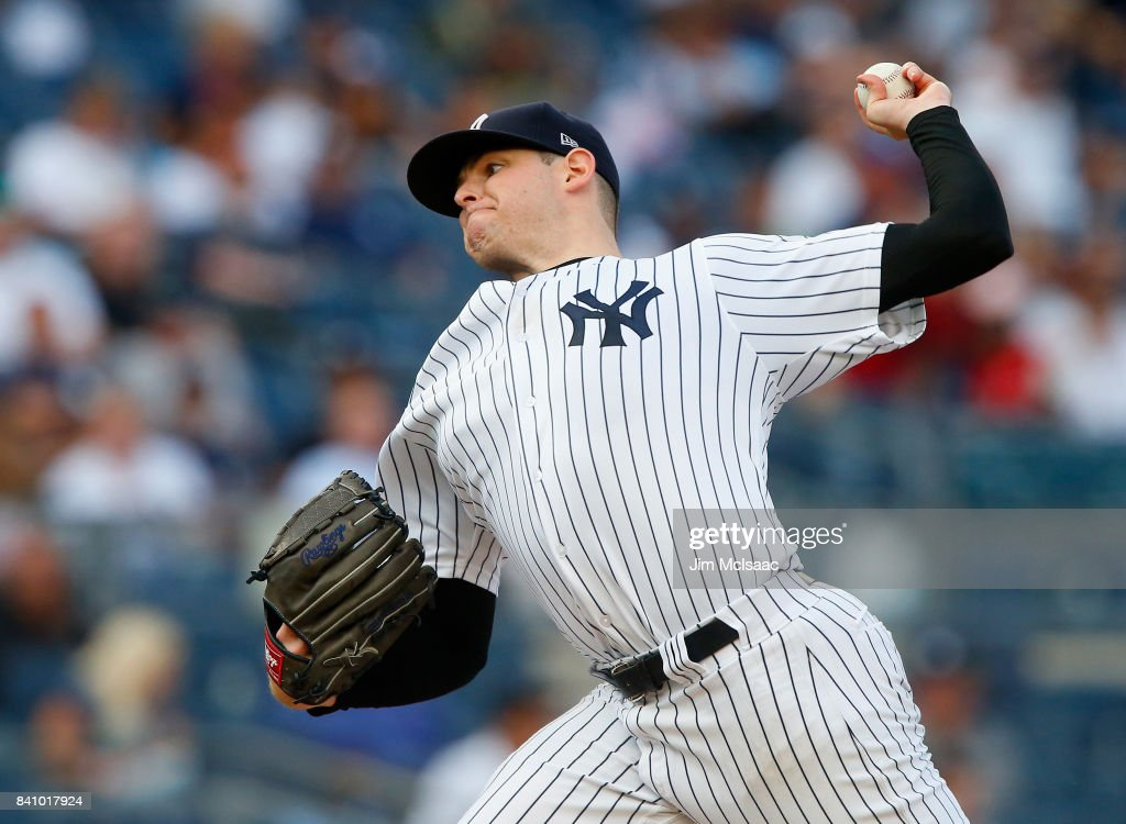 Jordan Montgomery #47 of the New York Yankees pitches in the second inning against the Cleveland Indians in the second game of a doubleheader at Yankee Stadium on August 30, 2017 in the Bronx borough of New York City.