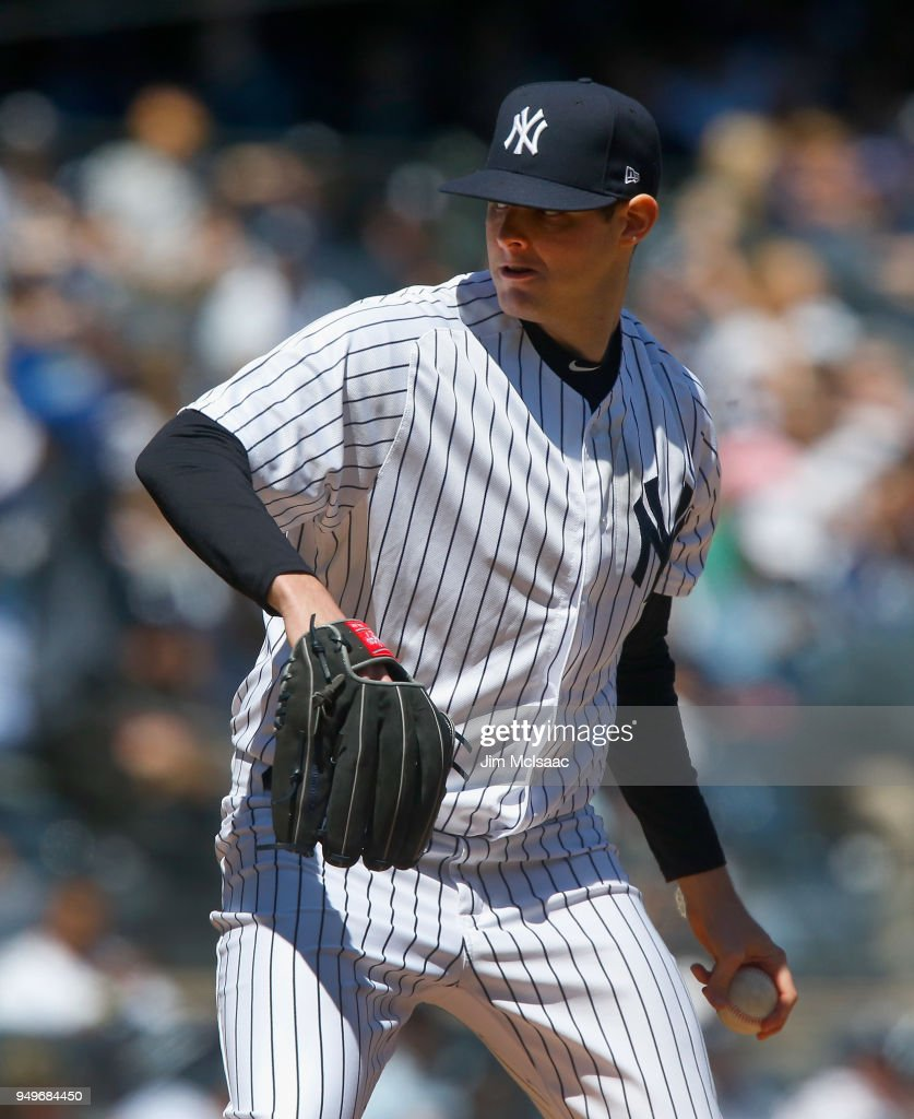 Jordan Montgomery #47 of the New York Yankees pitches in the second inning against the Toronto Blue Jays at Yankee Stadium on April 21, 2018 in the Bronx borough of New York City.