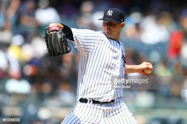 Jordan Montgomery of the New York Yankees pitches in the second inning against the Minnesota Twins at Yankee Stadium on April 26 2018 in the Bronx...