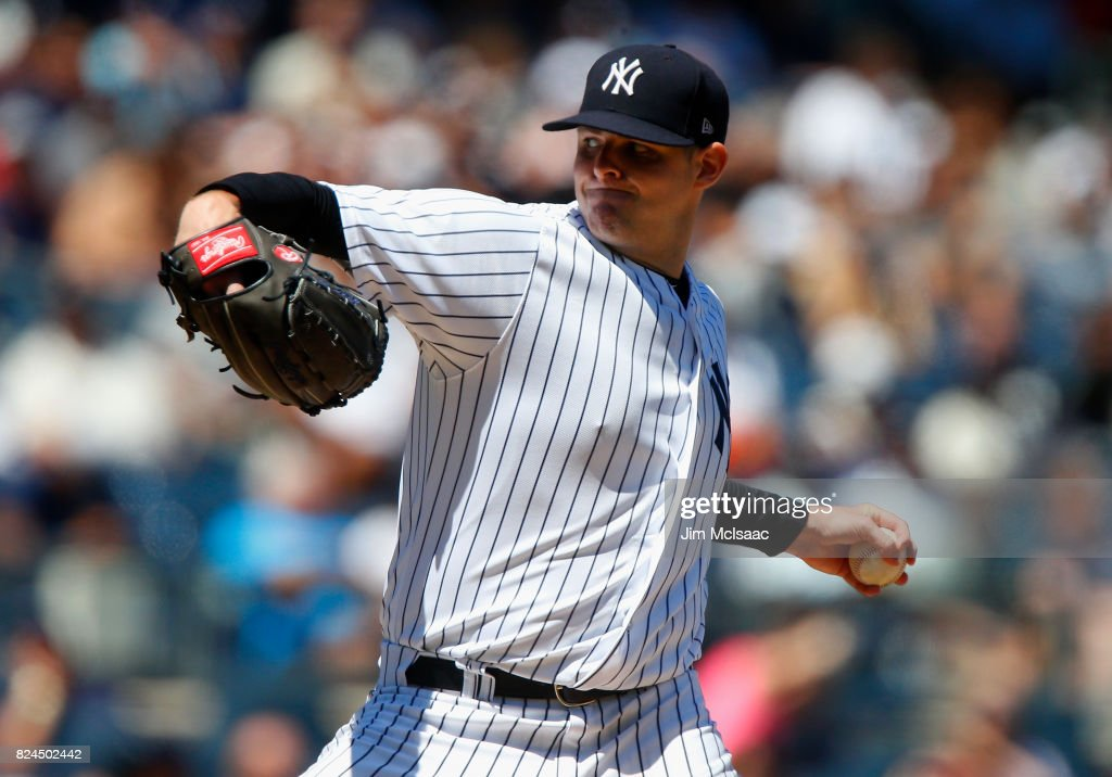 Jordan Montgomery #47 of the New York Yankees pitches in the third inning against the Tampa Bay Rays at Yankee Stadium on July 30, 2017 in the Bronx borough of New York City.