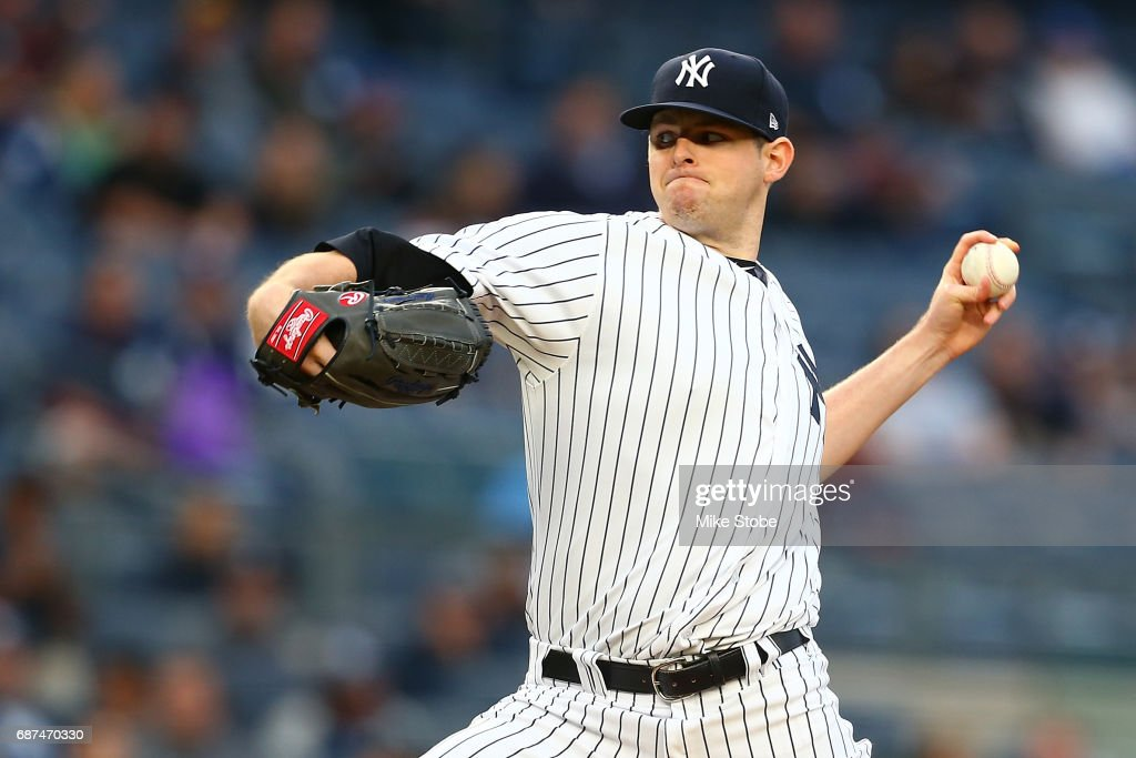 Jordan Montgomery #47 of the New York Yankees pitches inthe first inning against the Kansas City Royals at Yankee Stadium on May 23, 2017 in the Bronx borough of New York City.