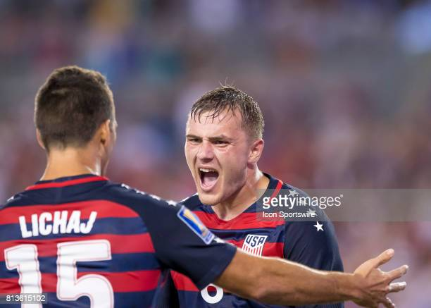Jordan Morris and Eric Lichaj celebrate a USA goal during the CONCACAF Gold Cup soccer match between USA and Martinique on July 12 2017 at Raymond...