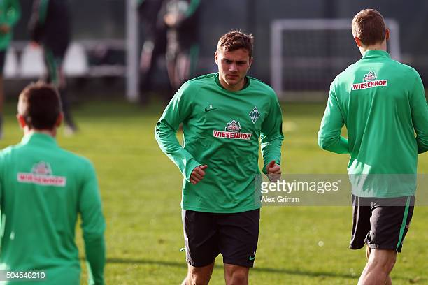 Jordan Morris attends a Werder Bremen training session on day 6 of the Bundesliga Belek training camps at Regnum Sports Center on January 10 2016 in...