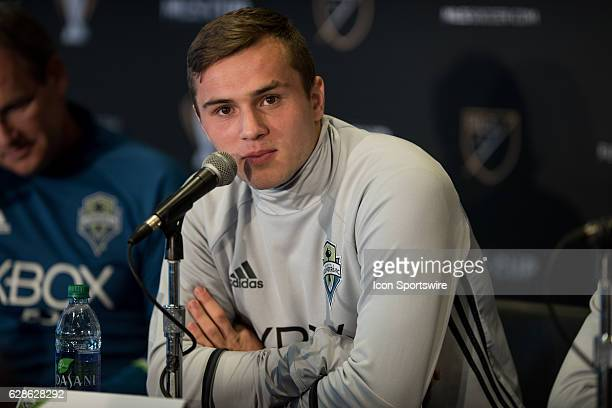 Jordan Morris of Seattle Sounders answers a question during the MLS Cup Team Press Conference on December 8 at Kia Training Ground in Toronto ON...