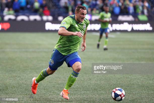 Jordan Morris of Seattle Sounders dribbles with the ball in the first half against the Orlando City during their game at CenturyLink Field on May 15...