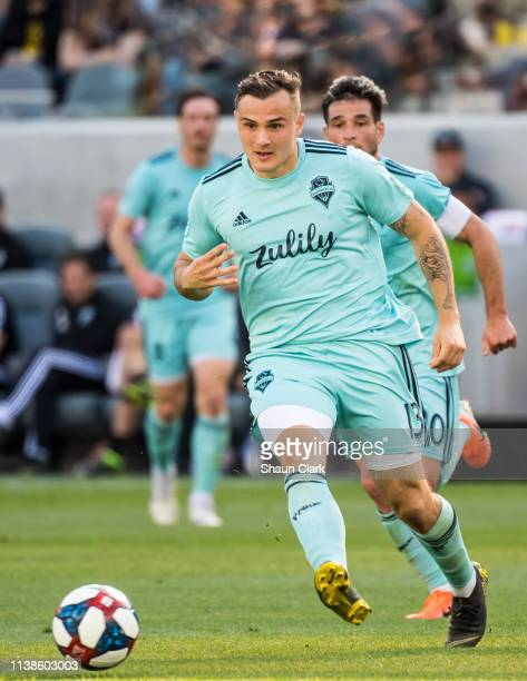 Jordan Morris of Seattle Sounders during Los Angeles FC's MLS match against Seattle Sounders at the Banc of California Stadium on April 21 2019 in...