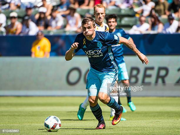 Jordan Morris of Seattle Sounders lines up a shot during Los Angeles Galaxy's MLS match against Seattle Sounders at the StubHub Center on September...