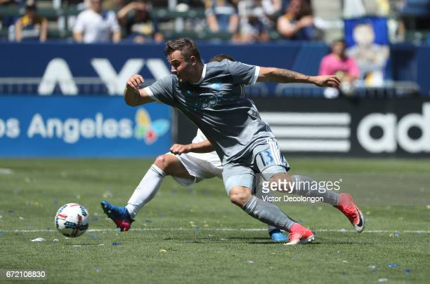 Jordan Morris of Seattle Sounders turns to play the ball during the second half of their MLS match against the Los Angeles Galaxy at StubHub Center...