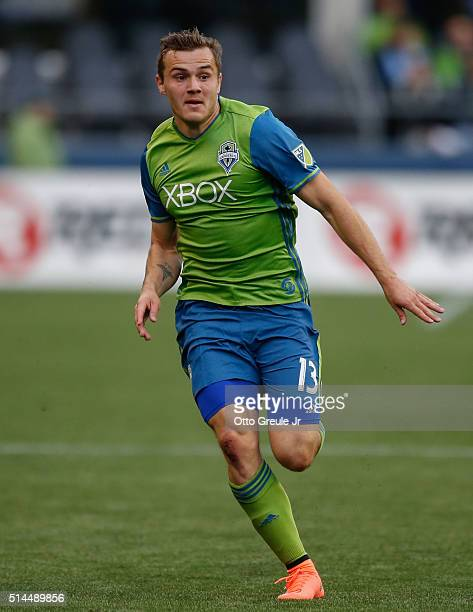 Jordan Morris of the Seattle Sounders FC in action against Sporting Kansas City at CenturyLink Field on March 6 2016 in Seattle Washington