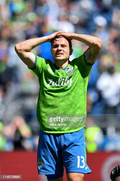 Jordan Morris of the Seattle Sounders is not happy with his near miss of a goal during the second half of the match against the Los Angeles FC at...