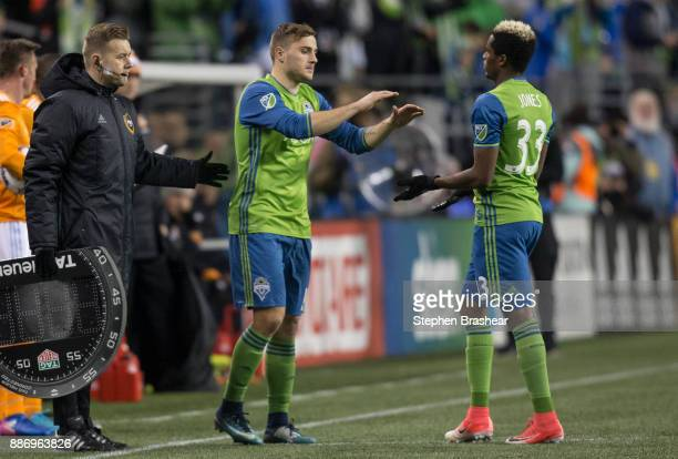 Jordan Morris of the Seattle Sounders substitutes in fro Joevin Jones of the Seattle Sounders during the second leg of the MLS Western Conference...
