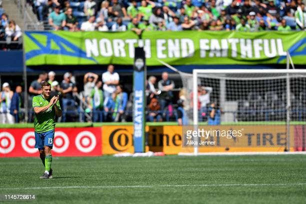 Jordan Morris of the Seattle Sounders thanks the crowd during the second half the match against the Los Angeles FC at CenturyLink Field on April 28...