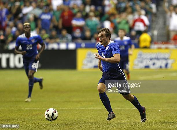 Jordan Morris of the United States advances the ball against Mexico during an international friendly match at the Alamodome on April 15 2015 in San...