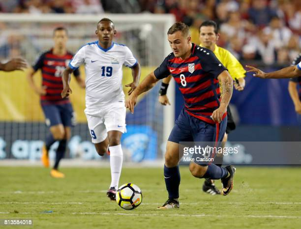 Jordan Morris of the United States brings the ball up past Daniel Herelle of Martinique during the first half of the CONCACAF Group B match at...