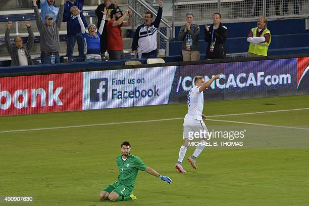 Jordan Morris of the United States celebrates a goal against the Canada during the Under23 CONCACAF Olympic Qualifying match between United States...