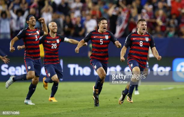 Jordan Morris of the United States celebrates scoring a goal against the Jamaica during the 2017 CONCACAF Gold Cup Final at Levi's Stadium on July 26...