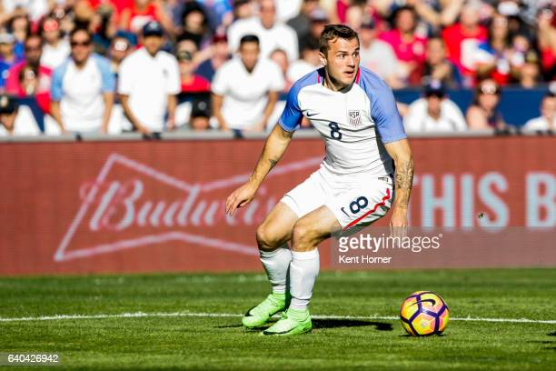Jordan Morris of the United States dribbles the ball against Serbia in the second half of the match at Qualcomm Stadium on January 29 2017 in San...
