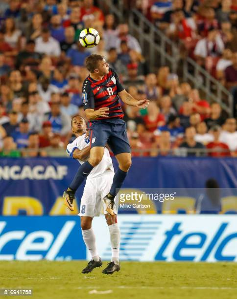 Jordan Morris of the United States heads the ball above Jordy Delem of Martinique during the second half of the CONCACAF Group B match at Raymond...
