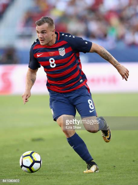 Jordan Morris of the United States in action against the Jamaica during the 2017 CONCACAF Gold Cup Final at Levi's Stadium on July 26 2017 in Santa...
