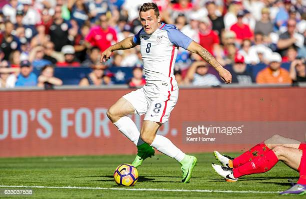 Jordan Morris of the United States looks to pass the ball against Serbia in the second half of the match at Qualcomm Stadium on January 29 2017 in...