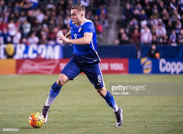 Jordan Morris of the United States races in on goal during the International Soccer Friendly match between the United States and Canada at the...