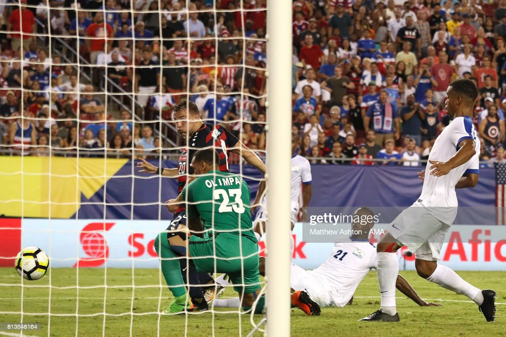 Jordan Morris of the United States scores a goal to make the score 2-0 during the 2017 CONCACAF Gold Cup Group B match between the United States and Martinique at Raymond James Stadium on July 12, 2017 in Tampa, Florida.