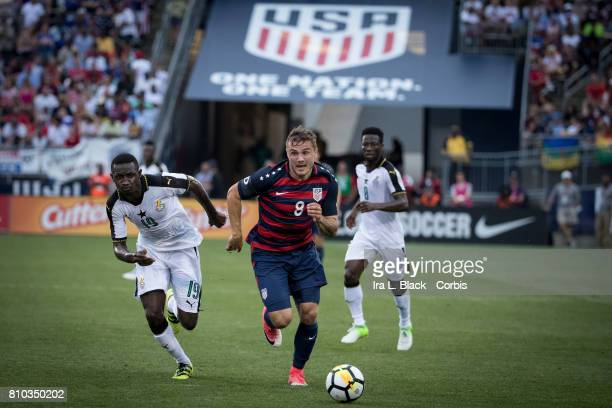Jordan Morris of US Mens National Team takes off running toward the goal during the International Friendly Match between US Men's National Team and...