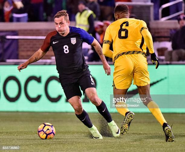 Jordan Morris of USA plays against jaSergio Campbell of Jamaica during the first half of a friendly match at Finley Stadium on February 3 2017 in...