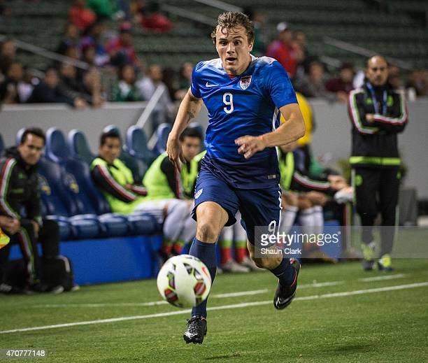 Jordan Morris of USMNT U23 races down the wing during the International Soccer Friendly match between United States Men's U23 and the Mexican Men's...