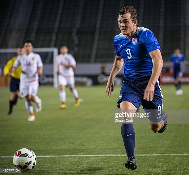 Jordan Morris of USMNT U23 races in on goal during the International Soccer Friendly match between United States Men's U23 and the Mexican Men's U23...