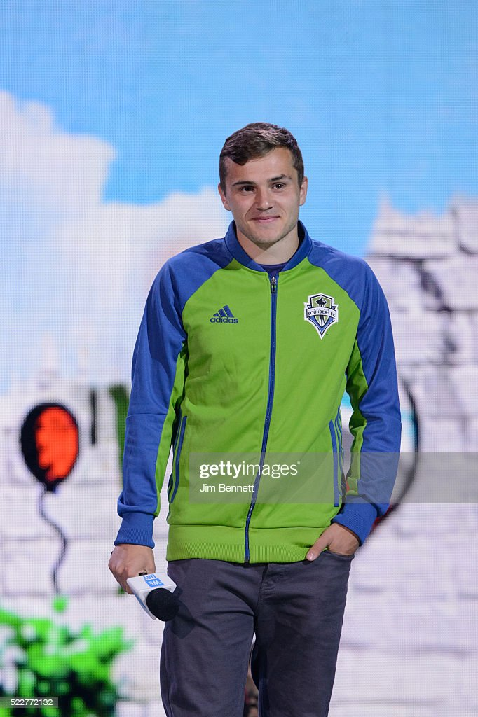 Jordan Morris, Seattle Sounders FC forward, speaks onstage during WE Day at KeyArena on April 20, 2016 in Seattle, Washington.