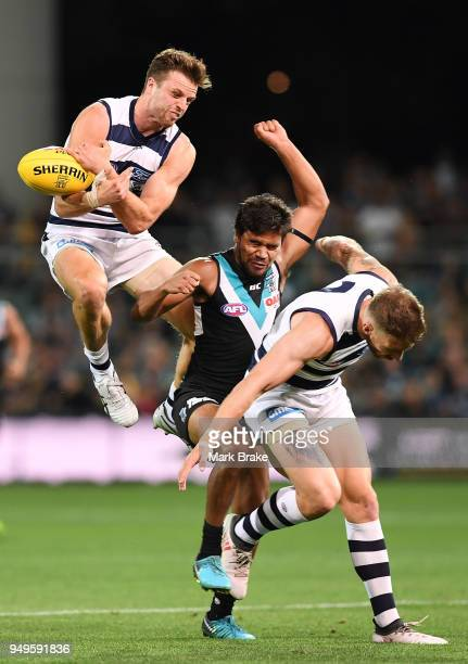 Jordan Murdoch of the Cats attempts to mark over Jake Neade of Port Adelaide during the round five AFL match between the Port Adelaide Power and the...