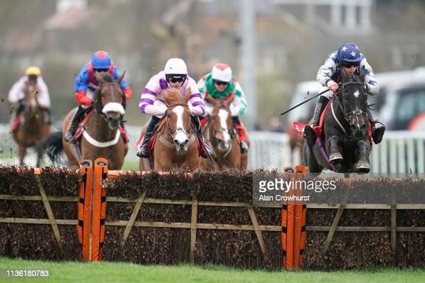 Jordan Nailor riding Wicked Willy clear the last to win The Matchbook VIP Silver Plate Handicap Hurdle at Kempton Park on March 16 2019 in Sunbury...