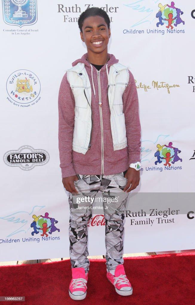 Jordan Newt attends the Children Uniting Nations' Day of The Child Fundraiser held at the Santa Monica Pier on November 18, 2012 in Santa Monica, California.