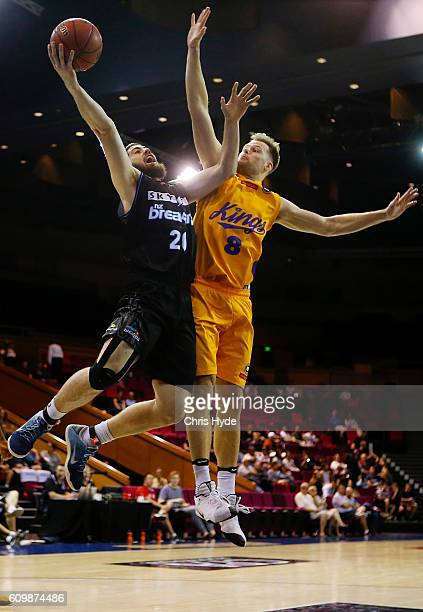 Jordan Ngatai of the Breakers shoots during the Australian Basketball Challenge match between Sydney Kings and New Zealand Breakers on September 23...