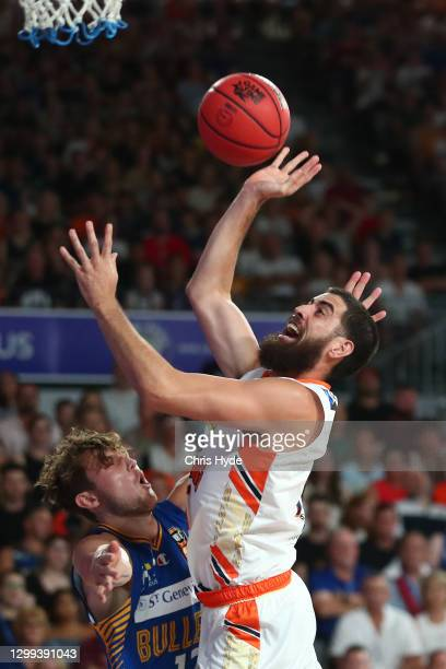Jordan Ngatai of the Taipans shoots during the round three NBL match between the Brisbane Bullets and the Cairns Taipans at Nissan Arena, on January...