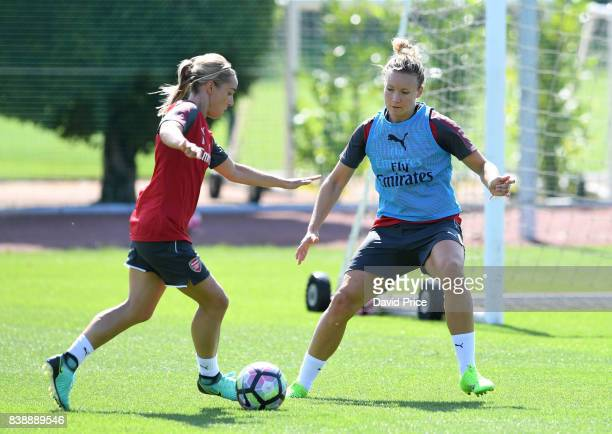 Jordan Nobbs and Josephine Henning of Arsenal Women during an Arsenal Women Training Session at London Colney on August 25 2017 in St Albans England