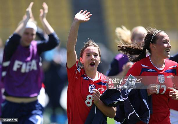 Jordan Nobbs captain of England celebrate their win in the Under 17 Womans World Cup match between the England and Brazil at Westpac Stadium on...