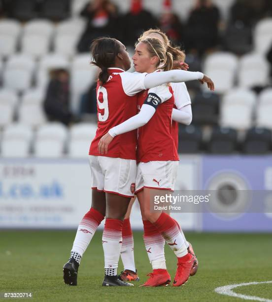 Jordan Nobbs celebrates scoring Arsenal's 3rd goal with Danielle Carter during the WSL match between Arsenal Women and Sunderland on November 12 2017...