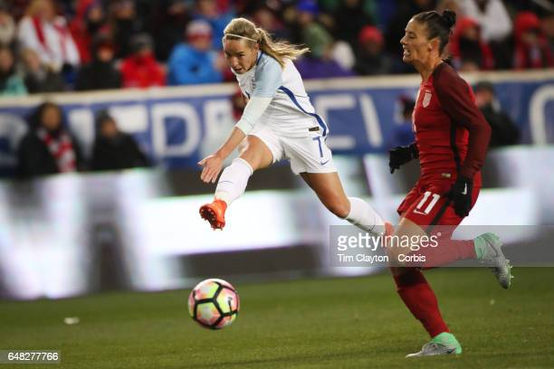 Jordan Nobbs England shoot past Ali Krieger of United States during the USA Vs England SheBelieves Cup match at Red Bull Arena on March 4 2017 in...