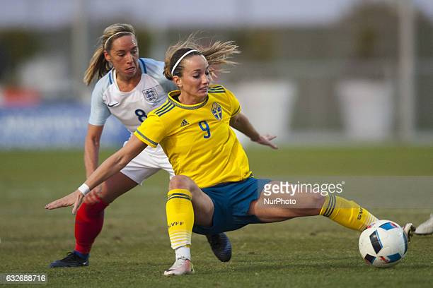 Jordan Nobbs Kosovare Asllani during the preseason friendly match between national women's Sweden vs England in Pinatar Arena San Pedro del Pinatar...
